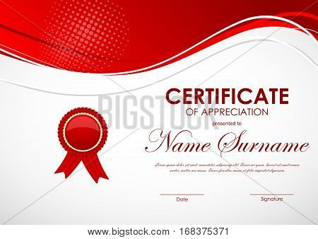 Certificate of appreciation template with red wavy digital light background and label. Vector illustration