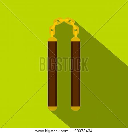 Nunchaku weapon icon. Flat illustration of nunchaku weapon vector icon for web   on lime background