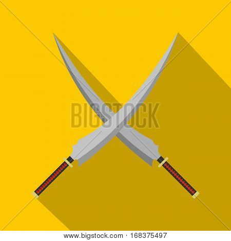 Two crossed Japanese  samurai swords icon. Flat illustration of two crossed Japanese  samurai swords vector icon for web   on yellow background