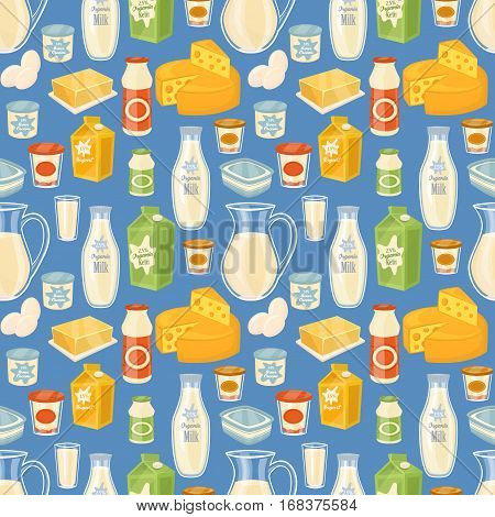 Dairy seamless pattern with different dairy icons on blue background, vector illustration. Healthy nutritious concept with butter, eggs, milk, cream, yoghurt, cheese, kefir. Organic farming.