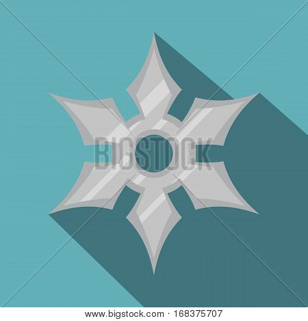 Shuriken weapon icon. Flat illustration of shuriken weapon vector icon for web   on baby blue background