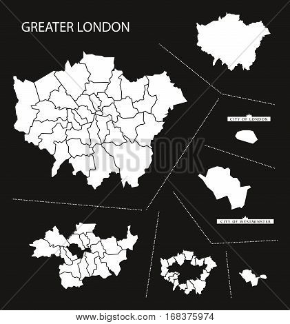 Greater London England Map Black Inverted