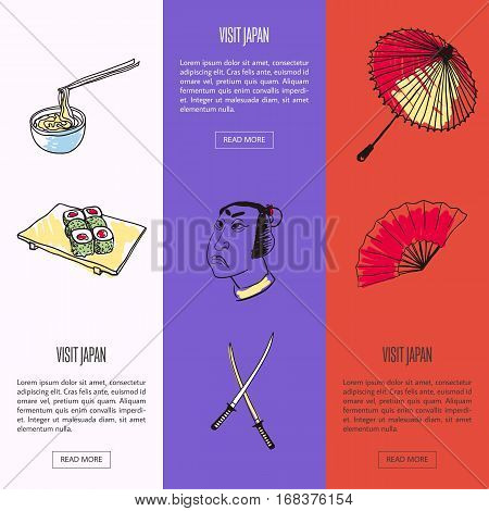 Visit Japan vertical web banners. Noodles with bamboo sticks, samurai, swords, hand fan and umbrella drawn vector illustrations. Templates with country related symbols. For travel company landing page