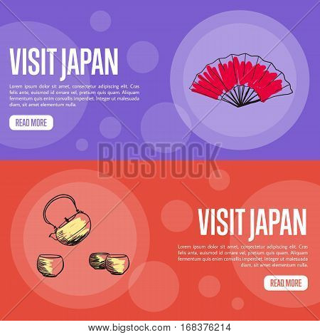 Visit Japan horizontal banners. Kettle and cups with tea, hand fan drawn vector illustrations. Web templates with country related doodle symbols. For travel company landing page design