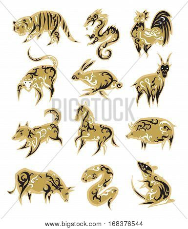 Chinese zodiac symbols eastern calendar signs vector illustrations. Traditional china new year oriental animal. Asia fortune silhouette drawing decoration.