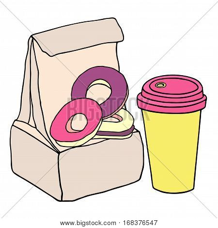 Lunch bag with sweet donuts and cup of coffee. Hand drawn sketch illustration.