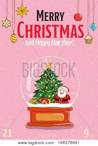 Christmas party promo poster with date and time. Snow globe with Santa, Christmas tree, gifts, ball toys cartoon vector on pink background. Merry Christmas, Happy New Year greetings. Xmas celebrating
