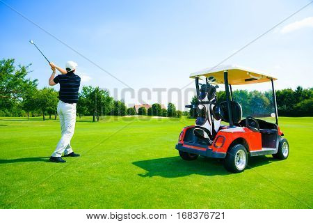 Adult man playing golf, spending a great summer day.