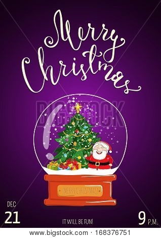 Christmas party promo poster with date and time. Snow globe with Santa, Christmas tree, gifts, toys cartoon vector on violet background. Merry Christmas and Happy New Year greetings. Xmas celebrating