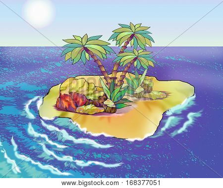 Desert Island in a Summer day. Digital Painting Background Illustration in cartoon style character.