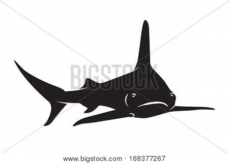 sharks silhuette icon isolated on white .Vector