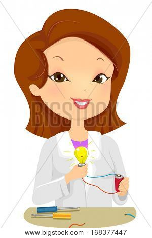 Illustration of a Female Scientist Demonstrating the Concept of Light Energy