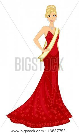 Illustration of a Blonde Woman in a Red Gown Competing in a Beauty Pageant