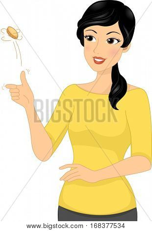 Illustration of a Brunette Woman Flipping a Coin to Help Her in Making a Decision