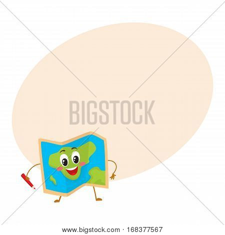 Folding geographical map funny character with a red pencil, travelling concept, cartoon vector illustration with place for text. Pocket geographical map funny character, mascot