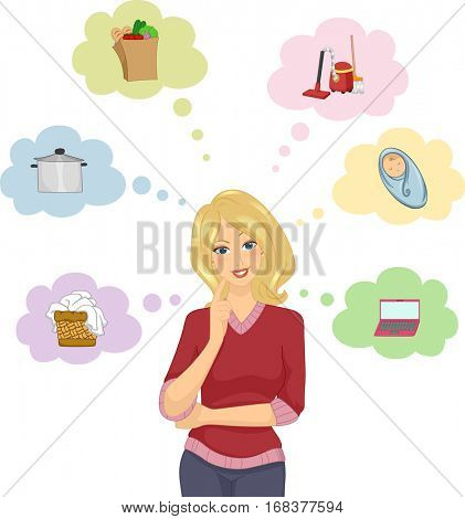 Illustration of a Blonde Girl Surrounded by Icons of the Things She Needs to Do