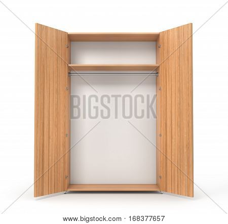 Empty open wooden wardrobe isolated on the whitebackground. 3d illustration