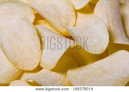 Background from the golden fresh salted chips