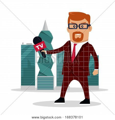 TV reporter with microphone on panama-city skyscrapers background. Corruption disclosure. International financial investigation concept. Offshore documents scandal illustration. Vector in flat design.