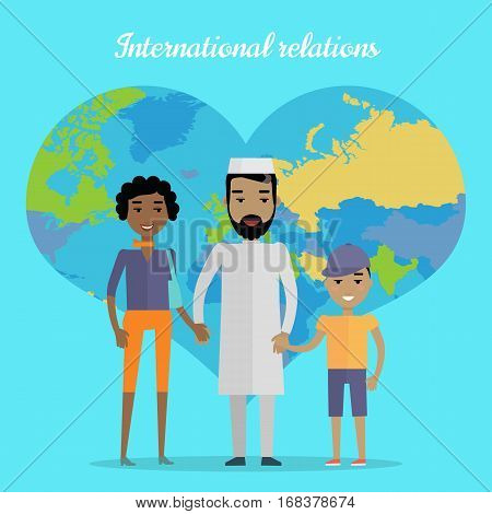 International relations vector concept. Flat design. Interracial marriages. Arab man, african woman, mulatto boy standing and holding hands on blue background with world map in shape of heart