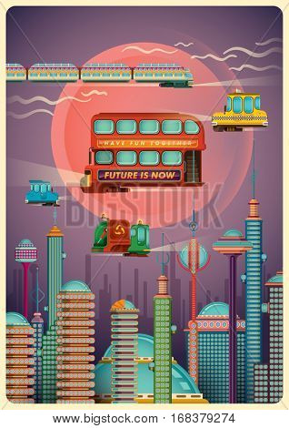 Illustration of a futuristic city scene with buildings, skyscrapers, towers, various levitating vehicles and sky. Vector illustration.