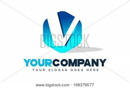 v Letter Logo. Modern Hexagon Logo Shape Design Vector.
