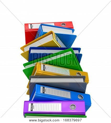 Colorful folders. Colorful ring binders. 3D illustration.