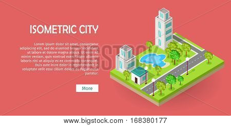 Isometric icon of luxury rest sport center with pool near road web banner. Building house architecture, street of urban town, map and construction, residential office or home. Vector in flat style
