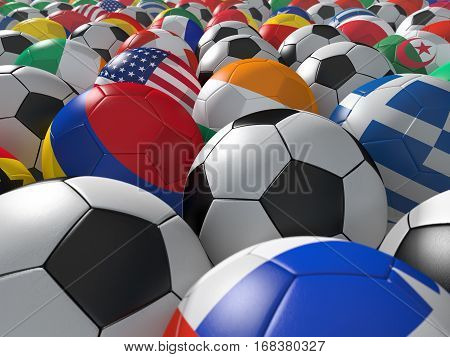 Soccer balls with flags of national teams. 3D rendering.