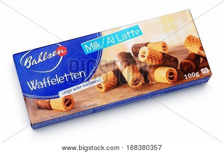 Top View Of Bahlsen Waffeletten Milk Chocolate Crisp Rolls Isolated On White