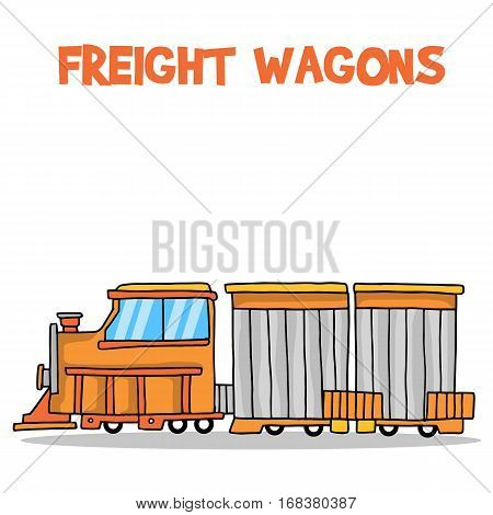 Freight wagons transport vector art collection stock