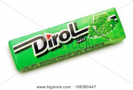 Dirol Mint Sugarfree Chewing Gum Isolated On White
