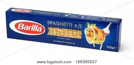 Front View Of Barilla Spaghetti N.5 Italian Pasta Isolated On White Background