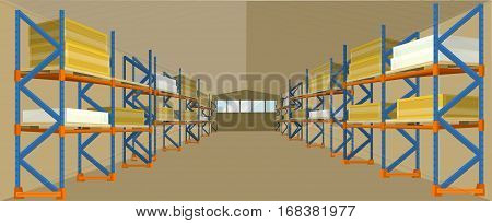 Warehouse hangar building vector. Flat design. Storage room with racks loaded crates and boxes. Spacious place for saving freight and parcels. Illustration for delivery companies and services ad