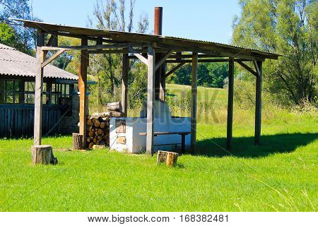 Antique stove in the yard in Ukraine