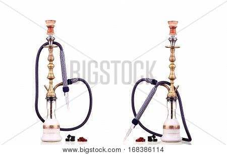 collage Hookah isolated on a white background. Water pipe hookah tobacco coal charcoal