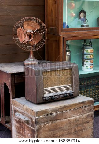 Vintage Radio And Furniture For Backdrop Photography.