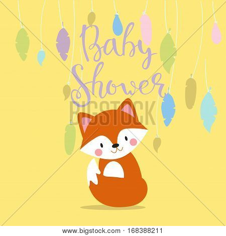Baby shower design with cute woodland fox born arrival vector graphic. Party template vintage cute birth invitation. Welcome greeting card decoration celebration.
