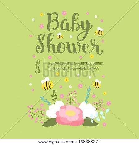 Baby shower design with cute woodland born arrival vector graphic. Party template vintage cute birth invitation. Welcome greeting card decoration celebration.