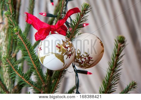Christmas ornaments on the natural Christmas tree