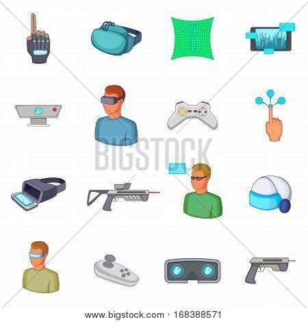 Virtual reality icons set. Cartoon illustration of 16 virtual reality vector icons for web