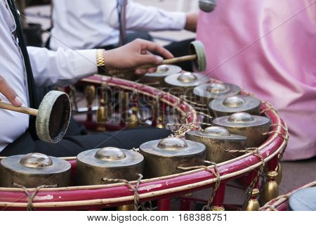 Thai band and music instrument Thai xylophone.