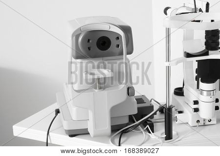 Modern tonometer in ophthalmologist's office