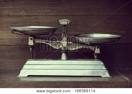 The Vintage of balance on wood background