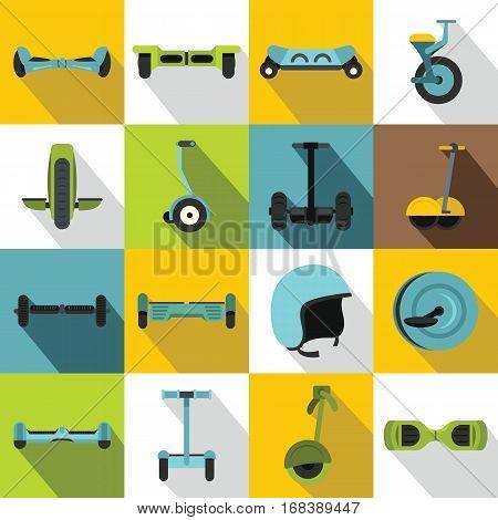 Balancing scooter icons set. Flat illustration of 16 balancing scooter vector icons for web