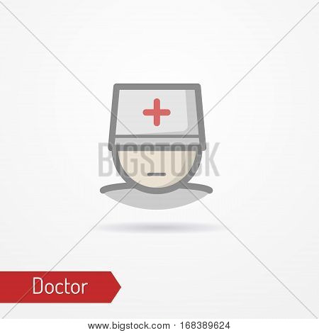 Typical simplistic doctor face in professional hat with red cross. Medic or surgeon head isolated icon in flat style with shadow. Profession and healthcare vector stock image.