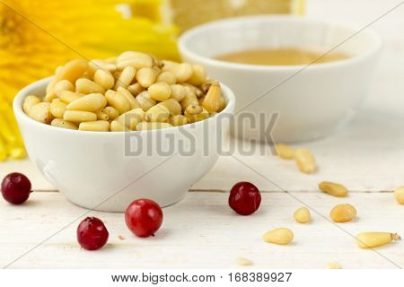 Pine Nuts With Honey And Cowberries