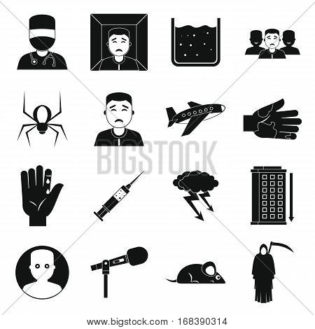 Phobia symbols icons set. Simple illustration of 16 phobia symbols vector icons for web