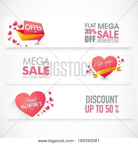 Website Headers or Banners set of Sale with 50% discount offer for Valentine's Day Celebration.