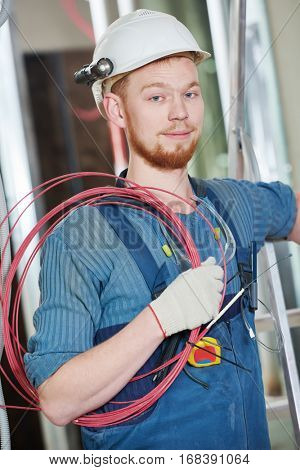 electrician worker with wiring
